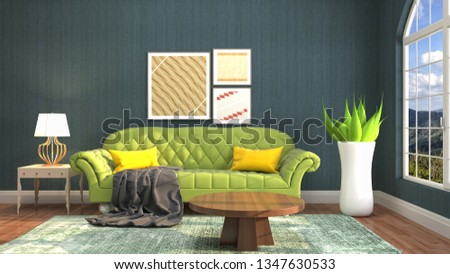 Interior of the living room. 3D illustration #1347630533
