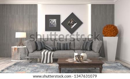 Interior of the living room. 3D illustration #1347631079