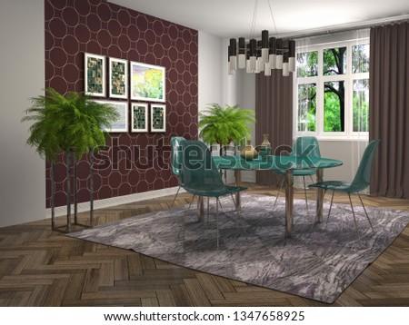 Interior dining area. 3d illustration #1347658925