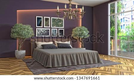 Bedroom interior. 3d illustration #1347691661