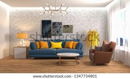 Interior of the living room. 3D illustration #1347734801