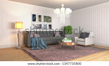 Interior of the living room. 3D illustration #1347735800