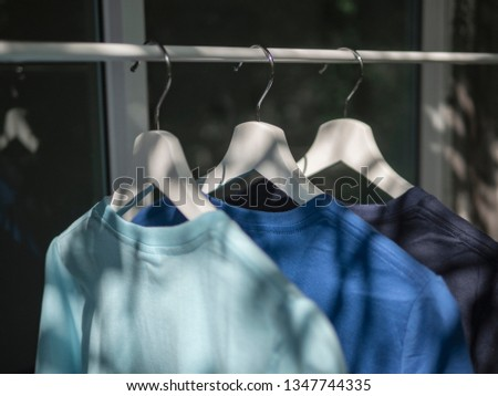 Blue t-shirts on hangers, close up view  #1347744335