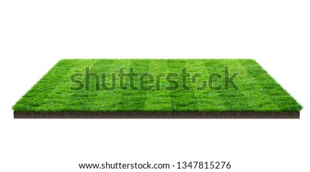 Green grass field isolated on white with clipping path. Sports field. Summer team games. Exercise and recreation place. #1347815276