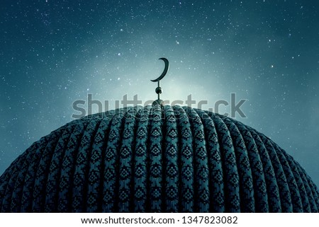Dome of an old Mosque in the Night with stars on the Sky #1347823082