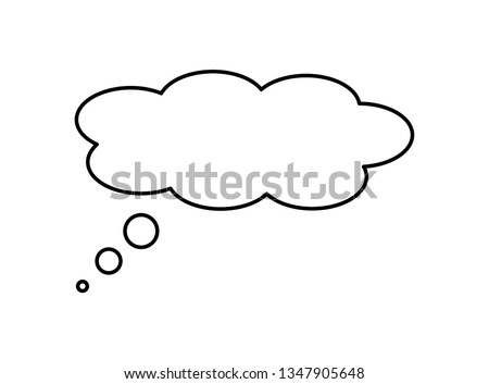 Think bubble icon isolated on white background. Trendy think bubble in flat style. Modern thin line template for social network, label, sticker and app.Creative art concept,vector illustration #1347905648