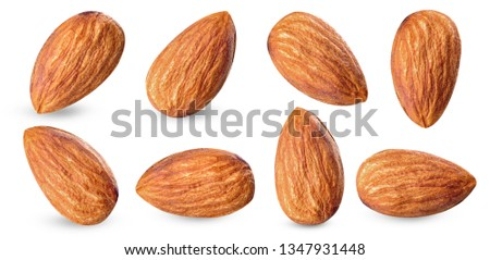 almond raw piece collection set.almond full macro shoot nuts healthy food ingredient on white isolated .Clipping path #1347931448