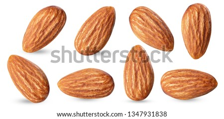 almond raw piece collection set.almond full macro shoot nuts healthy food ingredient on white isolated .Clipping path #1347931838