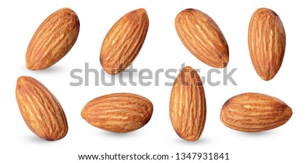 almond raw piece collection set.almond full macro shoot nuts healthy food ingredient on white isolated .Clipping path #1347931841