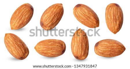 almond raw piece collection set.almond full macro shoot nuts healthy food ingredient on white isolated .Clipping path #1347931847