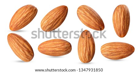 almond raw piece collection set.almond full macro shoot nuts healthy food ingredient on white isolated .Clipping path #1347931850