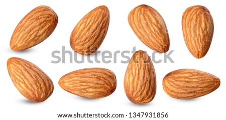 almond raw piece collection set.almond full macro shoot nuts healthy food ingredient on white isolated .Clipping path #1347931856
