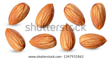 almond raw piece collection set.almond full macro shoot nuts healthy food ingredient on white isolated .Clipping path #1347931862