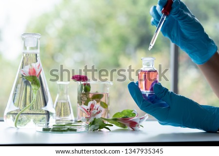 In laboratory ,natural orgaric extraction and flower herble aroma assence in flasks.beauty scientist ,research and develop project medicine for health and beauty care. Royalty-Free Stock Photo #1347935345