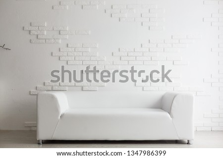 terior design series: Modern living room with big empty white wall #1347986399