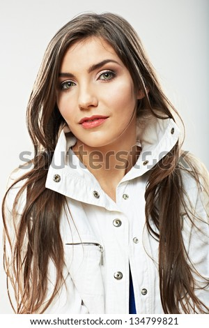 Beauty woman face close up portrait. Female young model. Studio isolated . #134799821