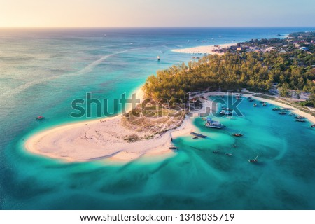 Aerial view of the fishing boats on tropical sea coast with sandy beach at sunset. Summer holiday on Indian Ocean, Zanzibar, Africa. Landscape with boat, green trees, transparent blue water. Top view #1348035719
