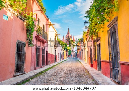 Beautiful streets and colorful facades of San Miguel de Allende in Guanajuato, Mexico	  #1348044707