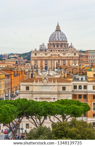 Rome city Vatican skyline view #1348139735