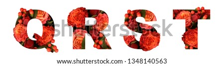 Floral font letter  QRST from a real red-orange roses for bright design. Stylish font of flowers for conceptual ideas. #1348140563
