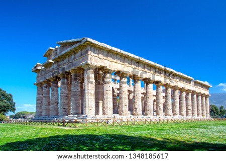 Temple of Hera at famous Paestum Archaeological UNESCO World Heritage Site, one of the most well-preserved ancient Greek temples in the world, Province of Salerno, Campania, Italy Royalty-Free Stock Photo #1348185617