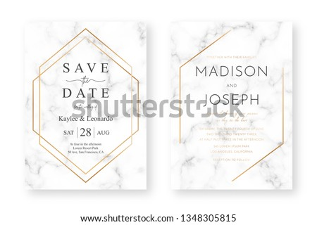 Wedding card design with golden frames and marble texture. Wedding announcement or invitation design template with geometric patterns and luxury background #1348305815