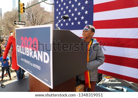 New York, NY - 3.24.2019:  US Senator Kirsten Gillibrand (D-NY) officially launched her presidential campaign today, giving a speech outside the Trump International Hotel and Tower in New York City  #1348319051