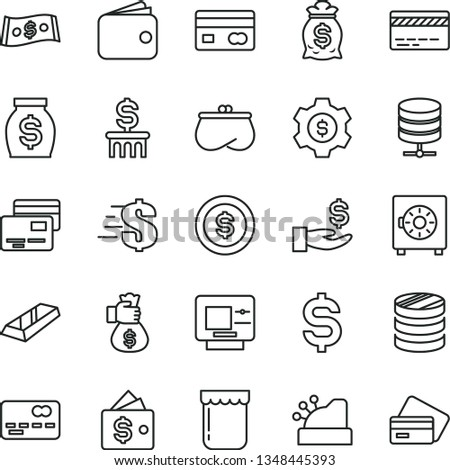 thin line vector icon set - bank card vector, dollar, big data server, strongbox, cards, jam, reverse side of a, front the, column coins, denomination, get wage, wallet, purse, money, cashbox, coin #1348445393