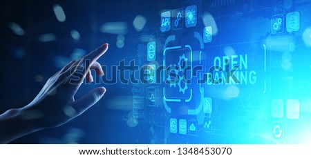 Open banking financial technology fintech concept on virtual screen. Royalty-Free Stock Photo #1348453070
