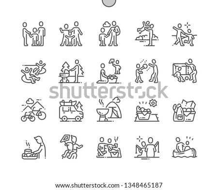 Family outdoor recreation Well-crafted Pixel Perfect Vector Thin Line Icons 30 2x Grid for Web Graphics and Apps. Simple Minimal Pictogram Royalty-Free Stock Photo #1348465187