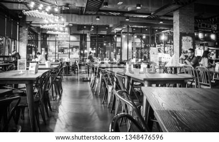 Food court interior in Suan Plern Shopping Mall, There are a lot of cafes and restaurants at Rama 4 road Klong Toey Bangkok Thailand,  December 29, 2000 #1348476596