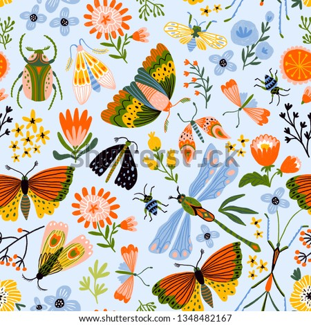 Colorful seamless pattern with insects and flowers. Summer floral repeat background for fabrics or wallpapers. Butterfly design.