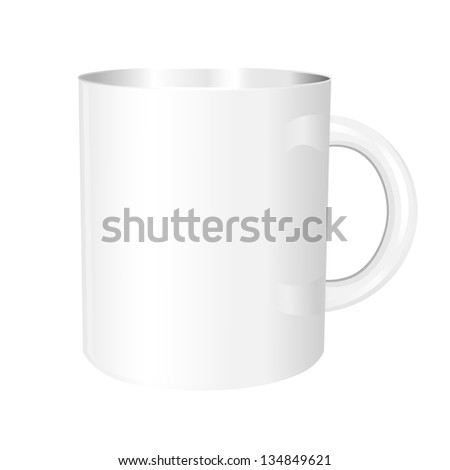 Volumetric white mug with shadows on white background #134849621