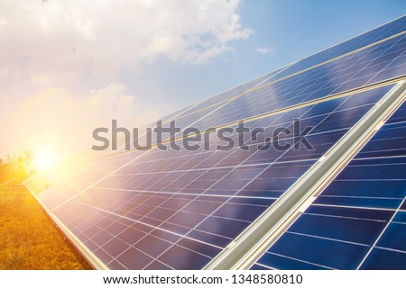 Solar panel, alternative electricity source, concept of sustainable resources, And this is a new system that can generate electricity more than the original, This's the sun tracking systems. #1348580810