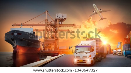Container truck in ship port for business Logistics and transportation of Container Cargo ship and Cargo plane with working crane bridge in shipyard, logistic import export and transportation concept #1348649327