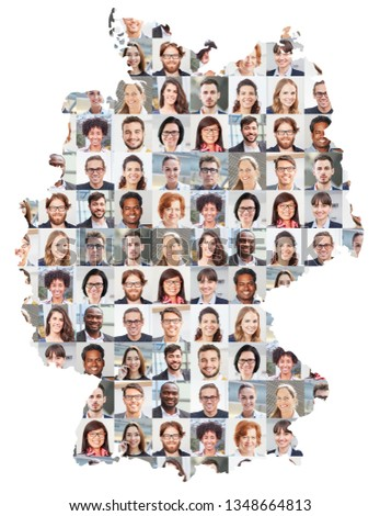 Portrait collage of business people on Germany map as business concept #1348664813