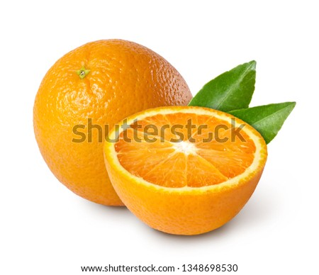 Whole and slices orange with leaves isolated on white background. #1348698530