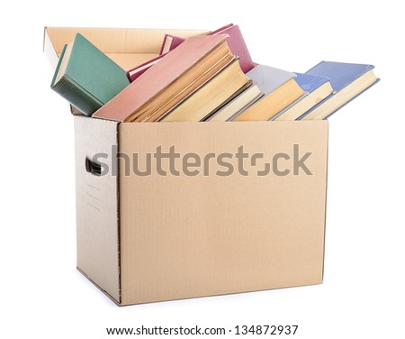 Cardboard box with books ready to move #134872937