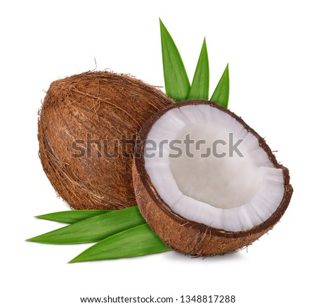 half coconut and leaves isolated on white background with clipping path and shadow #1348817288