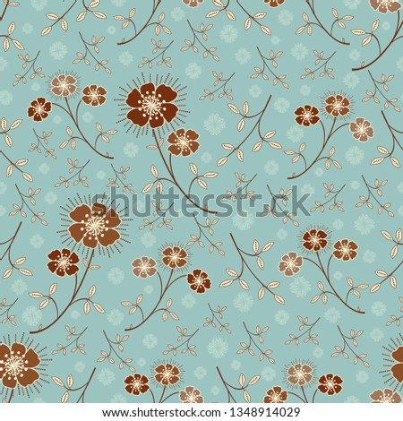 Seamless pattern with the image of flowers.  #1348914029