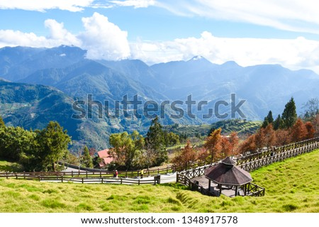 Qingjing Farm Or CingJing Farm Is A Tourist Attraction Farm In Ren'ai Township ,Taiwan. Farm Is Great For Those Who Enjoy Fresh Air, Lush Forests. Image For Templates, Placards, Banners, Presentations #1348917578