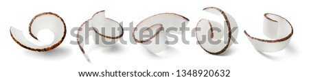 Coconut curl slices set isolated on white background. Package design element with clipping path #1348920632