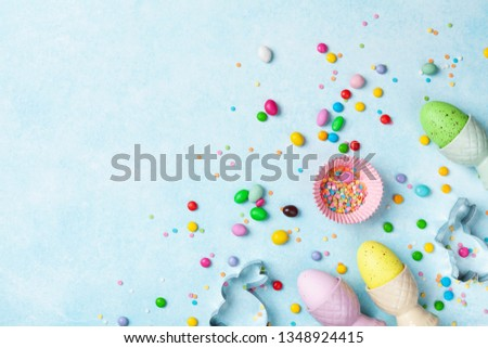 Easter baking background with kitchen tools for holiday sweet bakery top view. Flat lay. #1348924415