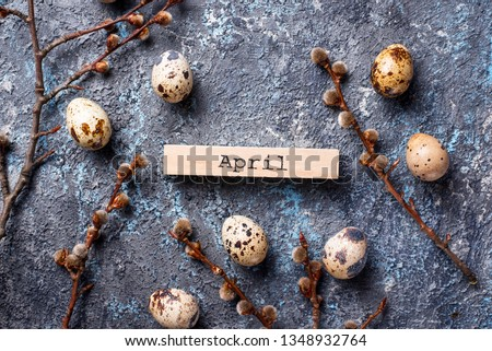 Easter festive background with quail eggs #1348932764