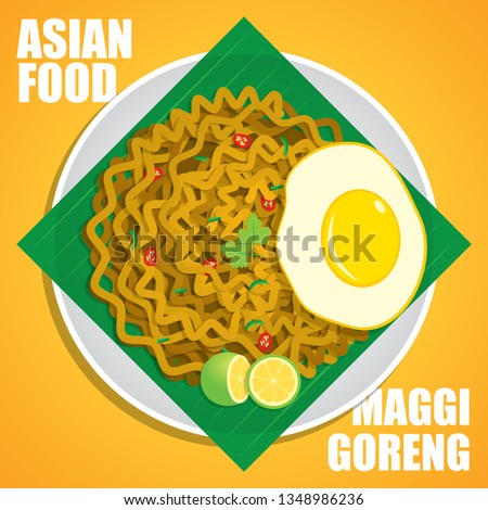 Maggi Goreng is a style of cooking instant noodles which commonly served at Indian Muslim food stalls in Malaysia and Singapore vector illustration. #1348986236