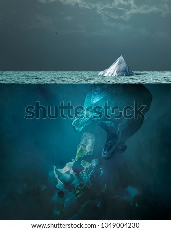 Plastic bag looking like an iceberg melting on the surface of the ocean, it is floating and dispersing waste in the water: sea pollution and global warming concept #1349004230