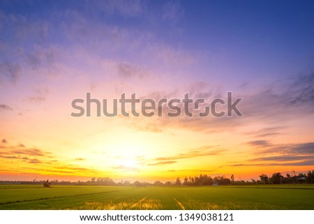 blue dramatic sunset sky texture background. #1349038121
