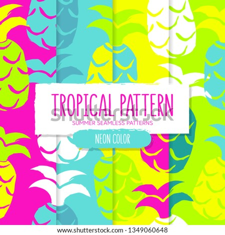 Set of tropical pattern with pineapples. Neon color. Summer seamless design. #1349060648