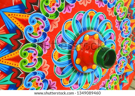 Colorful Costarican traditional wagon wheel #1349089460