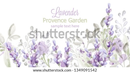 Lavender card Vector watercolor. Provence flowers banner backgrounds #1349091542